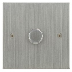 Focus SB Horizon Square Corners NHSC22.1 1 gang 2 way 400W (mains and low voltage) dimmer in Satin Chrome