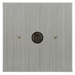 Focus SB Horizon Square Corners NHSC23.1 1 gang isolated co-axial TV socket in Satin Chrome