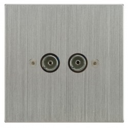 Focus SB Horizon Square Corners NHSC23.2 2 gang isolated co-axial TV socket in Satin Chrome