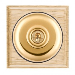 Hamilton Bloomsbury Ovolo Light Oak Plain Polished Brass 1 Gang Double Pole Toggle with Black Insert