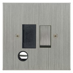 Focus SB Horizon Square Corners NHSC28.1B 13 amp switched fuse spur with cord outlet in Satin Chrome with black inserts
