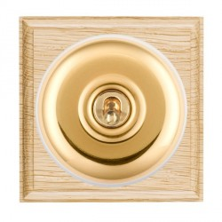 Hamilton Bloomsbury Ovolo Light Oak Plain Polished Brass 1 Gang Double Pole Toggle with White Insert