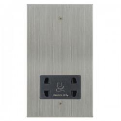 Focus SB Horizon Square Corners NHSC36.1B shaver socket (110/240V) in Satin Chrome with black inserts