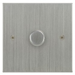 Focus SB Horizon Square Corners NHSC43.1/SML 1 gang 700W low voltage, 1000W mains voltage dimmer in Satin Chrome