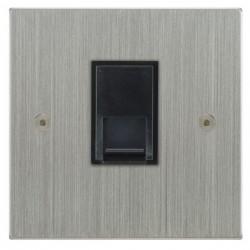 Focus SB Horizon Square Corners NHSC51.1B 1 gang CAT5 RJ45 socket in Satin Chrome with black inserts