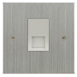 Focus SB Horizon Square Corners NHSC51.1W 1 gang CAT5 RJ45 socket in Satin Chrome with white inserts
