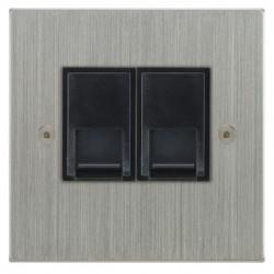 Focus SB Horizon Square Corners NHSC51.2B 2 gang CAT5 RJ45 socket in Satin Chrome with black inserts