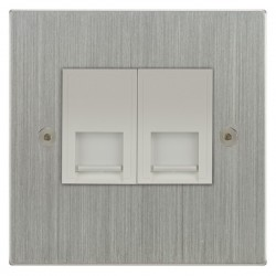 Focus SB Horizon Square Corners NHSC51.2W 2 gang CAT5 RJ45 socket in Satin Chrome with white inserts