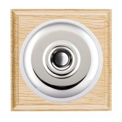 Hamilton Bloomsbury Ovolo Light Oak Plain Bright Chrome Bell Push Toggle with White Insert