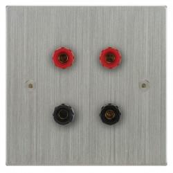 Focus SB Horizon Square Corners NHSC67.2 2 gang speaker outlet (2 red 2 black 4mm socket) in Satin Chrome