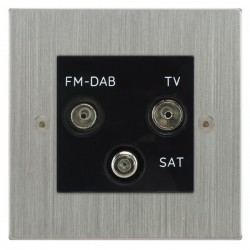 Focus SB Horizon Square Corners NHSC80.3B triplex TV/FM/Satellite outlet in Satin Chrome with black inserts