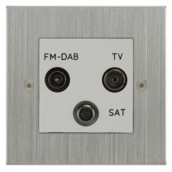 Focus SB Horizon Square Corners NHSC80.3W triplex TV/FM/Satellite outlet in Satin Chrome with white inserts