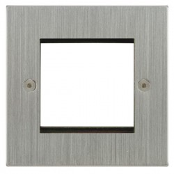 Focus SB Horizon Square Corners NHSCEUR.2 single aperture plate for two single euro modules in Satin Chrome