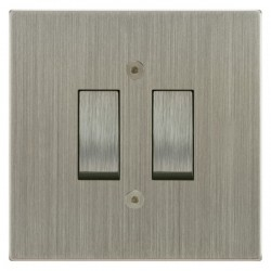 Focus SB Horizon Square Corners NHSN11.2 trimless 2 gang 20 amp 2 way rocker switch in Satin Nickel