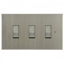 Focus SB Horizon Square Corners NHSN11.3 trimless 3 gang 20 amp 2 way rocker switch in Satin Nickel