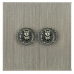 Focus SB Horizon Square Corners NHSN14.2 2 gang 20 amp 2 way toggle switch in Satin Nickel