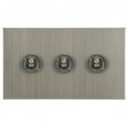 Focus SB Horizon Square Corners NHSN14.3 3 gang 20 amp 2 way toggle switch in Satin Nickel