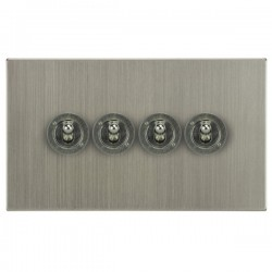 Focus SB Horizon Square Corners NHSN14.4 4 gang 20 amp 2 way toggle switch in Satin Nickel