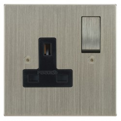 Focus SB Horizon Square Corners NHSN18.1B 1 gang 13 amp switched socket in Satin Nickel with black inserts