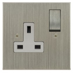 Focus SB Horizon Square Corners NHSN18.1W 1 gang 13 amp switched socket in Satin Nickel with white inserts