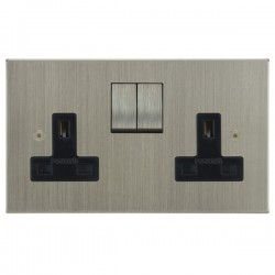 Focus SB Horizon Square Corners NHSN18.2B 2 gang 13 amp switched socket in Satin Nickel with black inserts