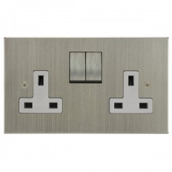 Focus SB Horizon Square Corners NHSN18.2W 2 gang 13 amp switched socket in Satin Nickel with white inserts