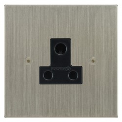 Focus SB Horizon Square Corners NHSN20.1B 1 gang 5 amp unswitched socket in Satin Nickel with black inserts