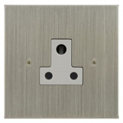 Focus SB Horizon Square Corners NHSN20.1W 1 gang 5 amp unswitched socket in Satin Nickel with white inserts