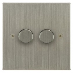Focus SB Horizon Square Corners NHSN21.2 2 gang 2 way 250W (mains and low voltage) dimmer in Satin Nickel