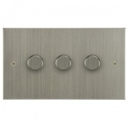 Focus SB Horizon Square Corners NHSN21.3 3 gang 2 way 250W (mains and low voltage) dimmer in Satin Nickel