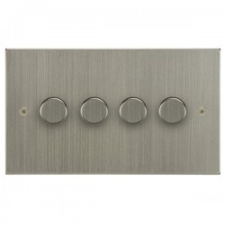 Focus SB Horizon Square Corners NHSN21.4 4 gang 2 way 250W (mains and low voltage) dimmer in Satin Nickel
