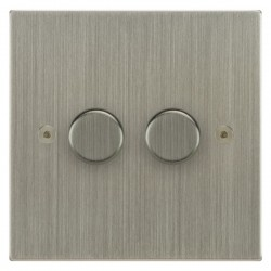 Focus SB Horizon Square Corners NHSN22.2 2 gang 2 way 400W (mains and low voltage) dimmer in Satin Nickel