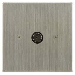 Focus SB Horizon Square Corners NHSN23.1 1 gang isolated co-axial TV socket in Satin Nickel