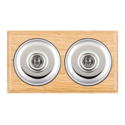 Hamilton Bloomsbury Ovolo Light Oak Plain Bright Chrome 2 Gang 2 Way Toggle with Black Insert