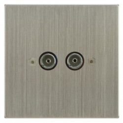 Focus SB Horizon Square Corners NHSN23.2 2 gang isolated co-axial TV socket in Satin Nickel