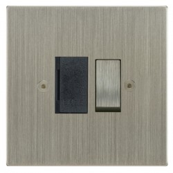 Focus SB Horizon Square Corners NHSN26.1B 13 amp switched fuse spur in Satin Nickel with black inserts