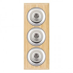 Hamilton Bloomsbury Ovolo Light Oak Plain Bright Chrome 3 Gang 2 Way Toggle with Black Insert
