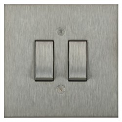 Focus SB Horizon Square Corners NHSS11.2 trimless 2 gang 20 amp 2 way rocker switch in Satin Stainless