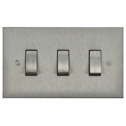 Focus SB Horizon Square Corners NHSS11.3 trimless 3 gang 20 amp 2 way rocker switch in Satin Stainless