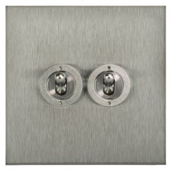 Focus SB Horizon Square Corners NHSS14.2 2 gang 20 amp 2 way toggle switch in Satin Stainless