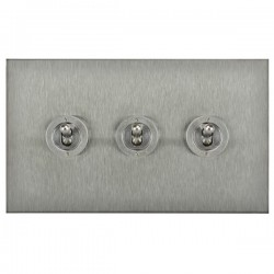 Focus SB Horizon Square Corners NHSS14.3 3 gang 20 amp 2 way toggle switch in Satin Stainless