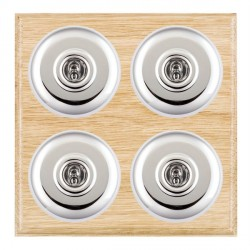 Hamilton Bloomsbury Ovolo Light Oak Plain Bright Chrome 4 Gang 2 Way Toggle with White Insert