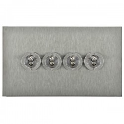 Focus SB Horizon Square Corners NHSS14.4 4 gang 20 amp 2 way toggle switch in Satin Stainless