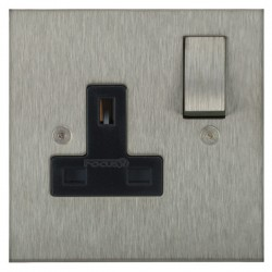 Focus SB Horizon Square Corners NHSS18.1B 1 gang 13 amp switched socket in Satin Stainless with black inserts