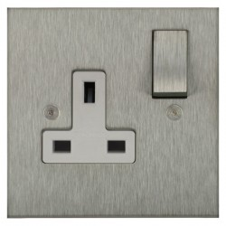 Focus SB Horizon Square Corners NHSS18.1W 1 gang 13 amp switched socket in Satin Stainless with white inserts