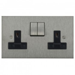 Focus SB Horizon Square Corners NHSS18.2B 2 gang 13 amp switched socket in Satin Stainless with black inserts