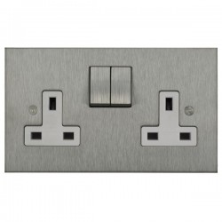 Focus SB Horizon Square Corners NHSS18.2W 2 gang 13 amp switched socket in Satin Stainless with white inserts