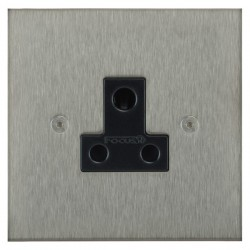 Focus SB Horizon Square Corners NHSS20.1B 1 gang 5 amp unswitched socket in Satin Stainless with black inserts