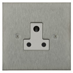 Focus SB Horizon Square Corners NHSS20.1W 1 gang 5 amp unswitched socket in Satin Stainless with white inserts