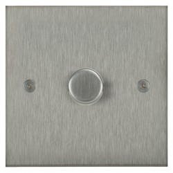 Focus SB Horizon Square Corners NHSS21.1 1 gang 2 way 250W (mains and low voltage) dimmer in Satin Stainless